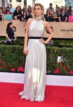 Vanessa Kirby's Red Carpet Moments Prove She's Fashion Royalty Nice Dresses, Formal Dresses, Wedding Dresses, British Academy Film Awards, Sag Awards, Marchesa Gowns, Vanessa Kirby, Slicked Back Hair, Versace Dress