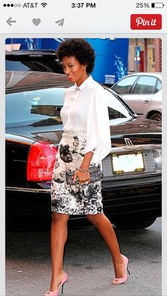 Patterned skirt and flowy blouse