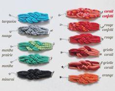 Dana : bracelet noeud en tricotin de coton bicolore corail et moucheté