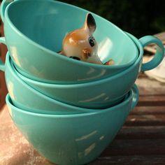 aqua turquoise vintage set melamine cups $10