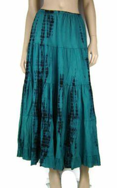 Festival Gypsy Boho Cotton TIE DYE 2 Colour Long Skirt Teale SZ 10 16 AU | eBay