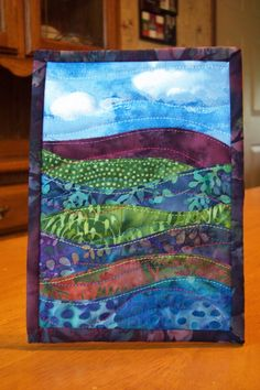 Landscape Art Quilt, Batik Fabrics, Egglant Purple, Blue, Green, Rust, Displays…