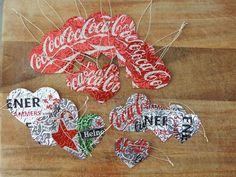 Geschenk-/oder Baumanhänger aus Getränkedosen Christmas ornaments of soda cans