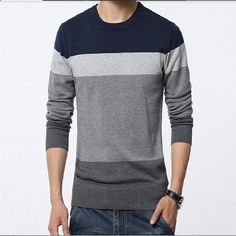 Men s sweaters 2016 winter new men Slim fit round neck sweater Fashion  stripes stitching plus size b234d3bda42d