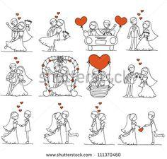 couple doodle wedding