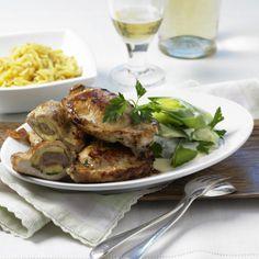 Käse-Mett-Koteletts mit Porree Rezept | LECKER