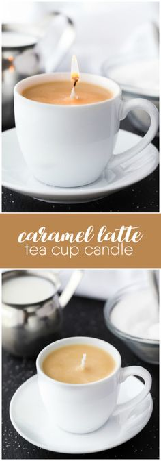 Caramel Latte Tea Cup Candle - A simple DIY gift for a coffee drinker on your holiday gift list. Who knew making candles could be so simple? gift for drinkers Caramel Latte Tea Cup Candle Homemade Candles, Homemade Gifts, Diy Candles Easy, Homemade Coffee Candle, Diy Homemade Christmas Gifts, Diy Candle Ideas, Diy Candels, Diy Holiday Gifts, Velas Diy