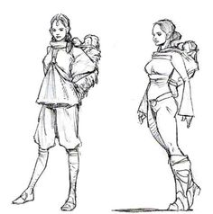 Concept art for Revenge of the Sith. Unused ideas involved Padmé confronting Anakin with the twins strapped to her back, planning to kill him with a knife.