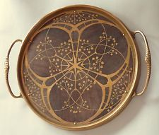 Erhard & Söhne, Art Nouveau round serving tray with handles, brass with wood…