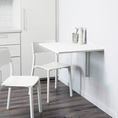 IKEA NORBERG Wall-mounted drop-leaf table, white ($40) ❤ liked on Polyvore featuring home, furniture, tables, dining tables, wall shelf, fold down shelf, fold down kitchen table, fold down dining table and folding dining table
