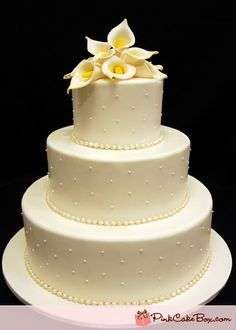 real callalily flowers on wedding cake - Google Search