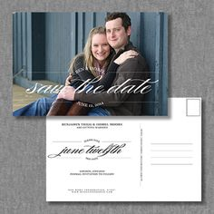 Elegant, vintage photo save the date postcard idea