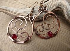 wire wrapped jewelry, handmade, Copper Earrings Red Bead, Dangle Earrings, Red Jewelry, Wire Earrings, Hand Made Jewelry, Hammered Etsy by TFUniqueTwists on Etsy https://www.etsy.com/listing/520692778/wire-wrapped-jewelry-handmade-copper