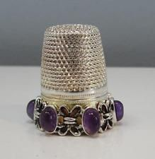 Finest Vintage Sterling Silver Stone / Glass Inset THIMBLE - Hallmarked