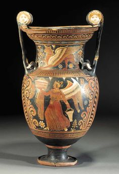 AN APULIAN RED-FIGURE VOLUTE KRATER, ATTRIBUTED TO THE PAINTER OF THE MACINAGROSSA STAND - 350-300 B.C.
