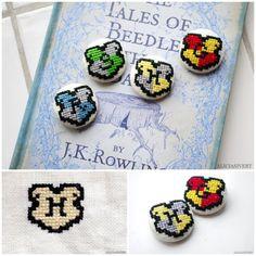 DIY Mini Harry Potter Hogwart House Cross Stitch Badge Charts...