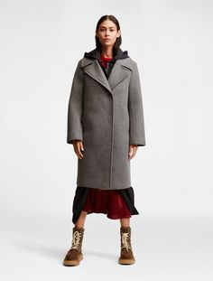 Grey wool blend DKNY Pure Wool Flannel Peacoat from DKNY.