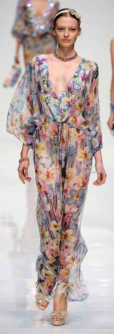 Blugirl SS 2011 | floral print caftan-like chiffon gown | high fashion