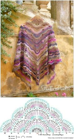 Best 12 Shawl Crochet Patterns Part 15 – Beautiful Crochet Patterns and Knitting Patterns Poncho Crochet, Beau Crochet, Bonnet Crochet, Mode Crochet, Crochet Shawls And Wraps, Crochet Motifs, Crochet Diagram, Crochet Chart, Crochet Scarves