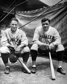 Lou Gehrig and Babe Ruth pose for a photo during the 1927 World Series. By the early Gehrig would gradually succeed the aging Ruth as the New York Yankees' dominant slugger. (Louis Van Oeyen / National Baseball Hall of Fame Library) New York Yankees Baseball, Yankees Fan, Nationals Baseball, Baseball Players, Baseball League, Pro Baseball, Baseball Equipment, Baseball Jerseys, Basketball