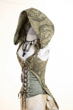 WAS $235-Waist 29 to 31 Moss Green 3 Piece Hooded Corset Set   damselinthisdress - Clothing on ArtFire
