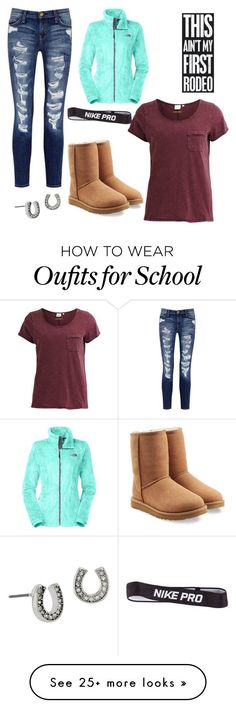 """SCHOOL OOTD"" by gallpoingfreeforever on Polyvore featuring Current/Elliott, The North Face, Object Collectors Item, Betsey Johnson, UGG Australia, NIKE and ootd"