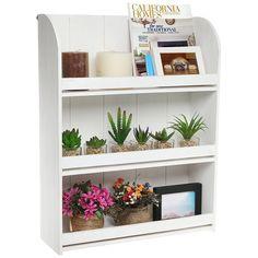 AmazonSmile: Rustic Whitewashed Wood Wall Mounted 3 Shelf Organizer / Decorative Freestanding Bookcase - MyGift® Home: Office Products