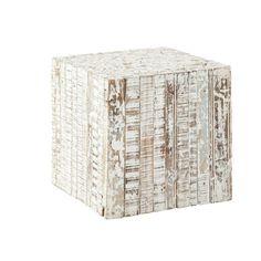 PATRAS whitewashed wood side table W 35cm