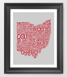 OHIO STATE UNIVERSITY  Buckeyes Typography 11 X 14 by EndyThings, $17.00