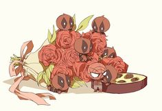 happy Valentine's Day by LKiKAi on DeviantArt Cute Deadpool, Deadpool X Spiderman, Deadpool Movie, Chibi Marvel, Marvel Dc Comics, Spideypool, Superfamily, Nerd, Fanart