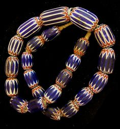 "6 layer Venetian chevron African Trade beads, 1700's, measuring from 18x25 mm to 22x40 mm. 26"", 23 beads"