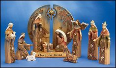 11-Piece Woodgrain Nativity Set