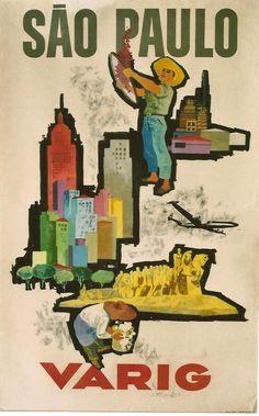 Original vintage poster SAO PAULO BRASIL VARIG c.1950