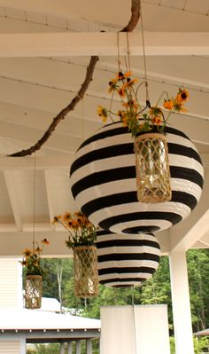 Use our white lanterns and add black stripes to add a monochrome theme to your wedding or garden party.