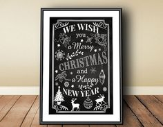 Merry Christmas, Digital download, download istantaneo, anno nuovo, stampa lavagna, stampa Natale, Natale vintage, Natale bianco e nero