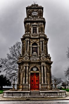 DOLMABAHCE CLOCK TOWER    The Tower was commissioned by Sultan Abdulhamid II (R.1876-1909) and erected in the garden between the Bezm-i Alem Valide Sultan Mosque and the Treasury Gate between the years 1890-94. 32 m. in height, the Tower has four stories, which taper inwards on each successive level and is mounted via a spiral stone staircase. It is rectangular in plan and the eclectic architecture reflects Neo-baroque and Empire in style. Barometers and thermometers are placed under