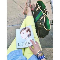 Love this preppy look! Louis Vuitton Neverfull in monmonogram with hints of green and some deck shoes.