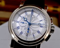 European Watch Company: Breguet Marine Chronograph in 18K White Gold on a Rubber Strap.
