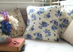 Fresh cornflower blue cushion with white piping edge.  Check out this item in my Etsy shop https://www.etsy.com/uk/listing/520275131/fresh-cornflower-blue-white-cushion