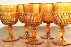 Vintage Rich Deep Amber Wine Goblet Glass by ABFarmHouseVintage