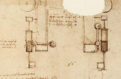 Dispositivo di arresto per binatura automatica della seta disegno di Leonardo da Vinci Codice Altantico f. 103.