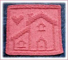 Happy Home Dishcloth pattern by Rachel van Schie Knitted Squares Pattern, Knitted Washcloth Patterns, Knitting Squares, Knitted Washcloths, Dishcloth Knitting Patterns, Knitting Stiches, Knitted Afghans, Crochet Dishcloths, Baby Knitting