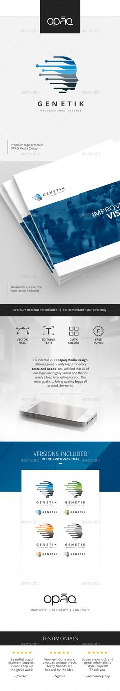 Genetic Human Profile Logo - Humans Logo Templates #Logo #Logos #graphicriver #Design #Desk #LogoTemplates #Logo-Templates #Humans