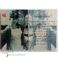 Persoonlijke foto en tekst op hout (L) 2 delig 32 x 40 cm