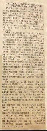 Brabants Nieuwsblad met een schrijven over de opening van het Caltex Service Station aan het Stationsplein