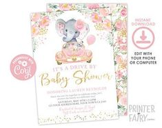 ♥ Party Boutique ♥ The Cutest Party Printables ♥ by PrinterFairy Gold Watercolor, Watercolor Background, Baby Shower Invites For Girl, Baby Shower Invitations, Girls Driving, Mini Hands, Pretty Pastel, Baby Elephant, Party Printables