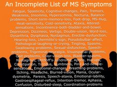 List of MS symptoms, multiple sclerosis