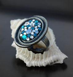Ocean Tide Swarovski Crystal Rhinestone by LoveDesignsBoutique