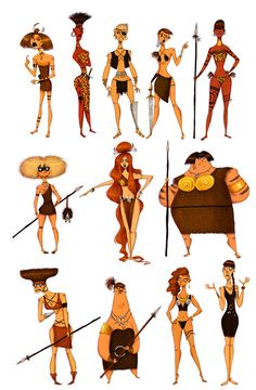 Cartoonish Character Concepts of 'Amazons' by Olivier Silven