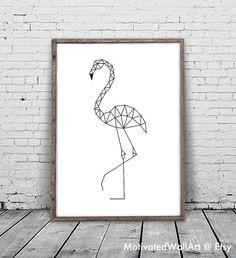 Flamingos Prints, Flamingos Artwork, Geometric Animal, A Flamingo Print, Geometric. How To Draw Flamingo, Flamingo Art, White Flamingo, Geometric Drawing, Geometric Art, Geometric Animal, Do It Yourself Upcycling, Tape Art, Quilt Modernen